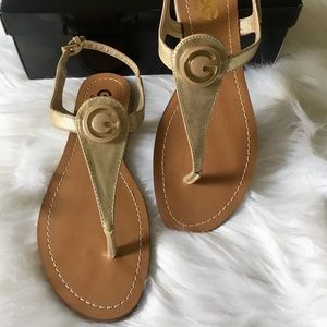 GBG Guess Gold Leather Sandals NWOT